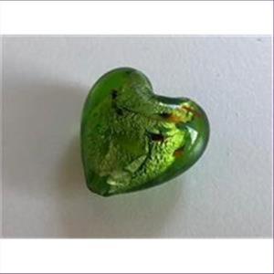 1 Glasperle Glasherz grün