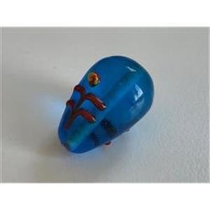 1 Glasperle Tropfen blau