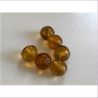 6 Glasperlen rund amber-braun