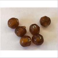 6 Glasperlen braun amber