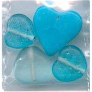 4 Glasperlen Herzen 13-20mm
