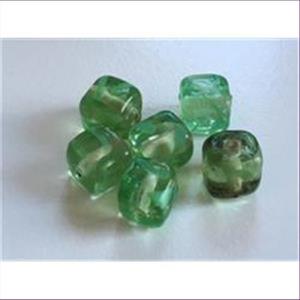 6  Glasperlen Glaswürfel 8mm  grün