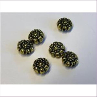 6 Acrylperlen Blumen altgold antik