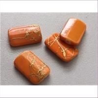 4 Acrylperlen orange-gold