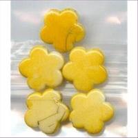 5 Acryl Blüten Perlen mit Goldschlieren