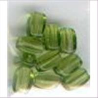 10 Glasperlen 6x4mm grün