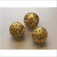 3  Filigranperlen 12mm goldfarbig