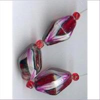 3 Handbemalte Glasperlen