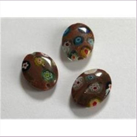 3 Millefiore-Perlen flach oval