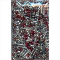 20gr. Rocailles-Stifte Mix cristall silber rot