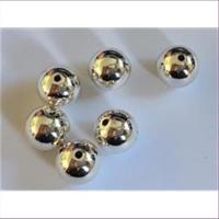 6 Acrylperlen - Wachsperlen 12mm silber