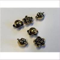 6 Acrylperlen  Blütenperlen altgold (Knöpfe)