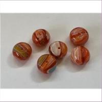 6 Millefiore-Perlen flach rund