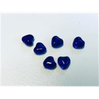 6  Glasperlen Mini-Herzen blau