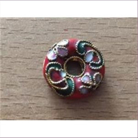 1 Emailleperle Metallperle Ring 16mm