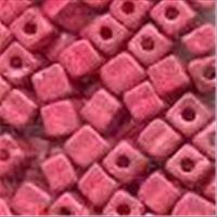10gr.  Rocailles Würfel metallic rot 3mm