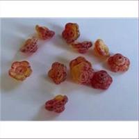 1 Beutel Glasperlen Blumen rot-orange