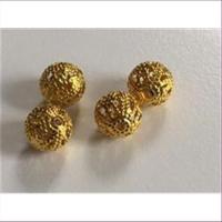4 Filigranperlen 8mm goldfarbig