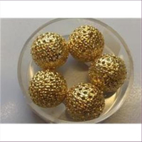 5 Filigranperlen 13mm goldfarbig
