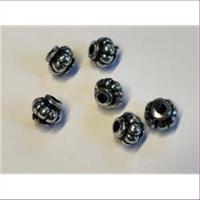 6 Acrylperlen altsilber antik