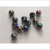 12 Regenbogen Perlen 6mm