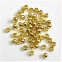 100 QuetschperlenSchmelz  glatt goldfarbig 2,0mm