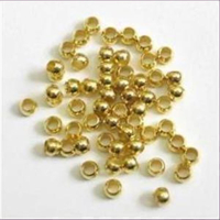 100 Quetschperlen Schmelz glatt goldfarbig 2,45mm