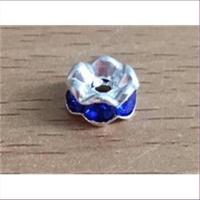 1 Strass Wellenrondell silber blau