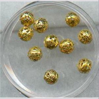 10  Filigranperlen 6mm goldfarbig