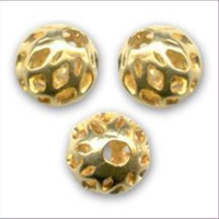 1 Filigranperle 6mm goldfarbig