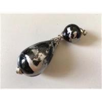 2 Perlen Anhänger schwarz-silber