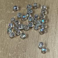 10 Glasschliffperlen hellgrau AB