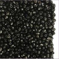 10 Glasschliffperlen schwarz oval