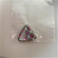 1 Glasperle Dreieck grau-pink