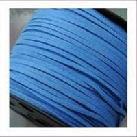 1m Velour Lederband blau