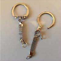 1 Schlüsselring Carabinerhaken mit Flach-Kette