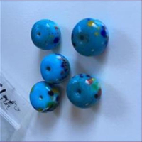 1 Glasperle türkis bunt 14,3x10,4mm