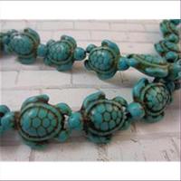 1 Steinperle Schildkröte grün