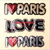 1 Aufnähmotiv  I LOVE PARIS  Pailletten