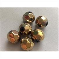 6 Acrylperlen facettiert gold-schwarz
