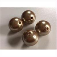 4 Acrylperlen goldbraun16mm