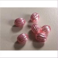 6 Acryloliven Riffelperlen rosa