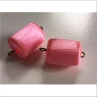 2 Acrylperlen Seidenumwickelt Anhänger rosa