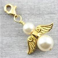 1 Flügelperle  Metall 19x8mm gold