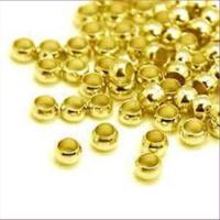 100 Quetschperlen Schmelz  2,0mm gelb vergoldet