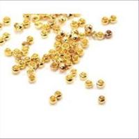 100 Quetschperlen Schmelz  3,0mm vergoldet