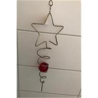 1 Aufhänger Windspiel Xmas Stern mit roter Glaskugel