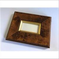 1 Bilderrahmen Holz 12,5x9,5cm  braun-gold