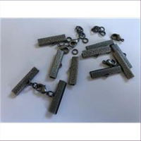 5 Endteile Bandenden montiert 12mm altsilber