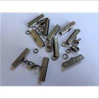 5 Endteile Bandenden montiert 24mm antiksilber